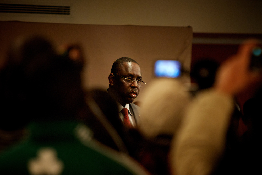 February 29, 2012 - Dakar, Senegal: Senegalese presidential candidate Macky Sall address journalists during a press conference at Terrou-Bi hotel in central Dakar. According to the provisory results of last Sunday's presidential election, is now confirmed that Macky will be running against the former president and candidate Abdoulaye Wade in a second round of the elections, in a date yet to be defined. (Paulo Nunes dos Santos/Polaris)