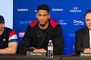 Tony Yoka (fra) during the official weighing and press conference before the heavyweight boxing bout between Tony Yoka (FRA) and Cyril Leonet (FRA) on April 6, 2018 in Boulogne-Billancourt, France - Photo Pierre Charlier / ProSportsImages / DPPI