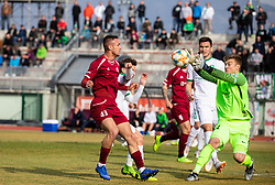 David Tijanić of Triglav vs Nejc Vidmar of Olimpija during Football match between NK Triglav and NK Olimpija Ljubljana in 22nd Round of Prva liga Telekom Slovenije 2018/19, on March 9, 2019, in Sports centre Kranj, Slovenia. Photo by Vid Ponikvar / Sportida