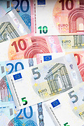 Euro cash money - five euros, ten euros, twenty euros banknotes - currency of the European Union EU Eurozone