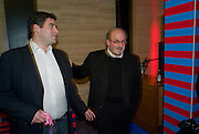 ZAFAR RUSHDIE; SALMAN RUSHDIE, The launch of Nokia's ÔComes with Music' campaign. Bloomsbury Ballroom. London. 22 October 2008 *** Local Caption *** -DO NOT ARCHIVE -Copyright Photograph by Dafydd Jones. 248 Clapham Rd. London SW9 0PZ. Tel 0207 820 0771. www.dafjones.com