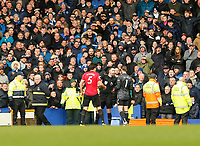 Football - 2019 / 2020 Premier League - Everton vs. Manchester United<br /> <br /> Manchester United players appeal to referee Chris Kavanagh after Dominic Calvert-Lewin had put the ball in the net in the final minutes and VAR ruled it out a few minutes later, at Goodison Park.<br /> <br /> COLORSPORT/ALAN MARTIN