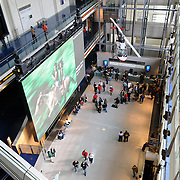 The main hall of the Newseum. The Newseum is a 7-story, privately funded museum dedicated to journalism and news. It opened at its current location on Pennsylvania Avenue in April 2008.