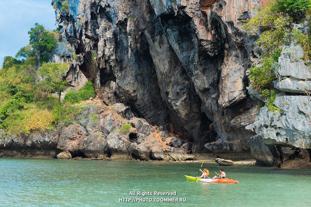 Tourists kayaking near Phra Nang bech in Krabi, Thailand