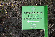 Israel Nature and Parks Authority - Barbecue area sign