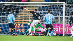 Falkirk's Conor McGrandles scoring their first goal.<br /> Falkirk 2 v 0 Dundee, Scottish Championship game at The Falkirk Stadium.<br /> © Michael Schofield.