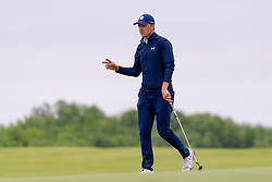 May 9, 2019 - Dallas, TX, U.S. - DALLAS, TX - MAY 09: Jordan Spieth waves to the gallery from the 15th green during the first round of the AT&T Byron Nelson on May 9, 2019 at Trinity Forest Golf Club in Dallas, TX. (Photo by Andrew Dieb/Icon Sportswire) (Credit Image: © Andrew Dieb/Icon SMI via ZUMA Press)
