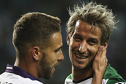 October 22, 2017 - Lisbon, Portugal - Sporting's defender Fabio Coentrao (R) reacts next to Chaves's defender Paulinho during the Portuguese League  football match between Sporting CP and Chaves at Jose Alvalade  Stadium in Lisbon on October 22, 2017. (Credit Image: © Carlos Costa/NurPhoto via ZUMA Press)