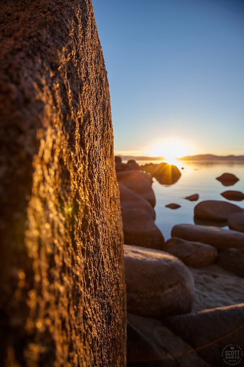 """""""Sunset at Lake Tahoe 27"""" - These boulders were photographed at Secret Cove, Lake Tahoe at sunset."""