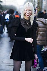 March 4, 2018 - Paris, France - Soo Joo Park wearing sheer tights is seen outside Valentino during Paris Fashion Week Womenswear Fall/Winter 2018/2019 on March 4, 2018 in Paris, France. (Credit Image: © Nataliya Petrova/NurPhoto via ZUMA Press)