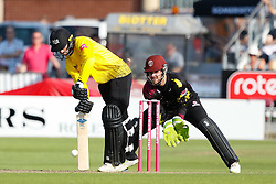 Gloucestershire's Jack Taylor defends<br /> <br /> Photographer Simon King/Replay Images<br /> <br /> Vitality Blast T20 - Round 1 - Somerset v Gloucestershire - Friday 6th July 2018 - Cooper Associates County Ground - Taunton<br /> <br /> World Copyright © Replay Images . All rights reserved. info@replayimages.co.uk - http://replayimages.co.uk