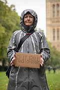 Paid to Pollute claimant Kairin van Sweeden outside Victoria Tower Gardens South on 2nd October 2021 in London, United Kingdom. Kairin and Jeremy are two of the three climate activists taking the UK government to court over the billions of pounds of public money it spends supporting the oil and gas industry, as part of the Paid to Pollute campaign. <br /> <br /> Kairin van Sweeden is an SNP Common Weal organiser for the North east of Scotland, the daughter of an oil worker, an Aberdeen quine and Executive Director of the Modern Money Scotland think tank.
