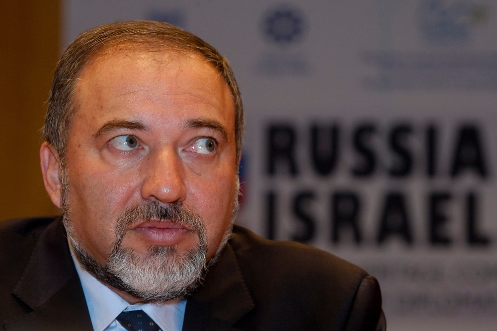 Israeli Foreign Minister Avigdor Lieberman, is seen during a convention marking twenty years of diplomatic relations between Russia and Israel, held at the Hebrew University in Jerusalem on November 8, 2010.