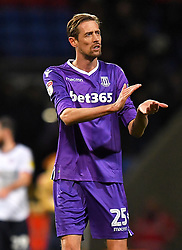 Stoke City's Peter Crouch applauds the fans after the final whistle