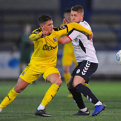 TELFORD COPYRIGHT MIKE SHERIDAN 5/3/2019 - Darryl Knights of AFC Telford battles for the ball with Harvey Saunders of Darlington during the National League North fixture between AFC Telford United and Darlington at the New Bucks Head Stadium