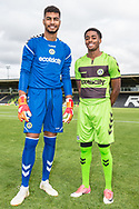 Forest Green Rovers goalkeeper Robert Sanchez(1) and Forest Green Rovers Reece Brown(10) wearing the new kit for the 2018/19 season during the 2018/19 official team photocall for Forest Green Rovers at the New Lawn, Forest Green, United Kingdom on 30 July 2018. Picture by Shane Healey.