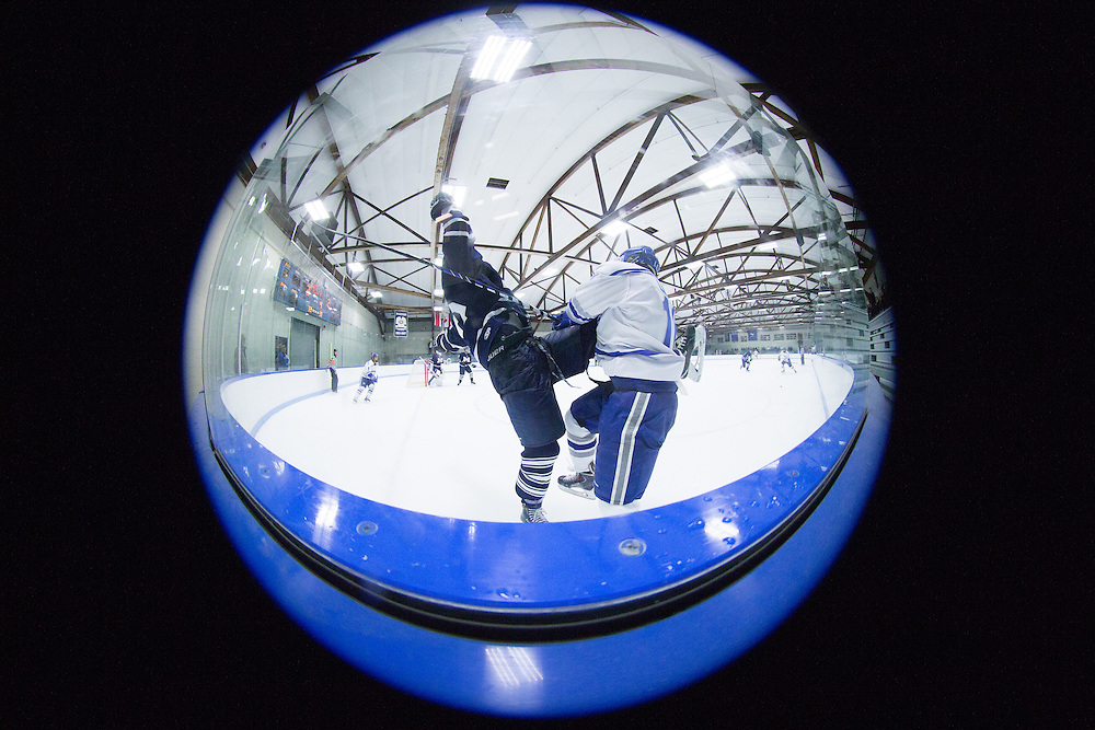 Tyler Lingel, of Colby College, in a NCAA Division III hockey game against the Middlebury College on November 16, 2014 in Waterville, ME. (Dustin Satloff/Colby College Athletics)