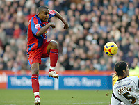 Photo: Kevin Poolman.<br />Derby County v Crystal Palace. Coca Cola Championship. 16/12/2006. Clinton Morison has a shot blocked by Dean Leacock of Derby.