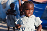 Child in a tent city in Port-au-Prince