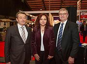 Ambassodor's reception at Holiday World RDS 2019 Friday.<br /> Pic shows Petr Kynstetr (Ambassador Czech Republic),<br /> Charis Christodoulidou (Ambassador Cyprus) and<br /> Igor Pokojny (ambassador Slovakia)  at the event today.<br /> Pic Gary Ashe.25/1/2019