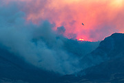 Airplane fighting wildfire in the Shoshone National Forest or Wyoming
