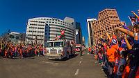 Running back C J Anderson, Denver Broncos Super Bowl 50 Victory Parade, Downtown Denver, Colorado USA.