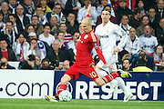 Champions League semi final second leg soccer match between Real Madrid and FC Bayern Munich at the Santiago Bernabeu stadium in Spain - <br /> MADRID 25/04/2012<br /> ESTADIO SANTIAGO BERNABEU.<br /> half final, Halbfinale, Semifinale,  CHAMPIONS LEAGUE<br /> REAL MADRID 2 - BAYERN 1<br /> picture: ROBBEN. SERGIO RAMOS.- fee liable image, copyright © ATP QUEEN INTERNACIONAL<br /> <br /> Real MADRID vs Fc BAYERN Match 2:1 und 3:1 im Elfmeterschieflen - and 3:1 in penalty shooting - Queen photographer Fernando ALVAREZ