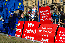 EU flags contrast with pro-Leave posters on College Green as Parliament debates a move by MPs to get an extension to Article 50 rather than allowing the Government to leave the EU without a deal on October 31st. London, September 04 2019.