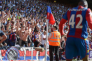 Palace fans cheer on Jason Puncheon of Crystal Palace before he takes a corner. Barclays Premier league match, Crystal Palace v Aston Villa at Selhurst Park in London on Saturday 22nd August 2015.<br /> pic by John Patrick Fletcher, Andrew Orchard sports photography.