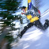 RUNNING, Kristoffer Erikson (MR) runs down a steep snowslope in Bridger Mountains, Montana