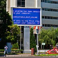 A billboard sign malfunctions in Tashkent.