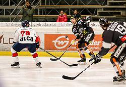 30.10.2018, Messestadion, Dornbirn, AUT, EBEL, Dornbirn Bulldogs vs KHL Medvescak Zageb, 15. Runde, im Bild Mitja Robar (KHL Medvescak Zagreb) und Radek Cip (Dornbirn Bulldogs) // during the Erste Bank Icehockey League 15th round match between Dornbirn Bulldogs vs KHL Medvescak Zageb at the Messestadion in Dornbirn, Austria on 2018/10/30. EXPA Pictures © 2018, PhotoCredit: EXPA/ Peter Rinderer