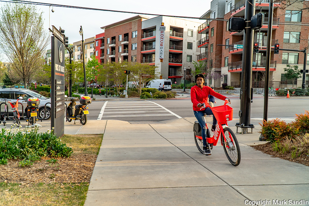 Several bike and scooter companies offer rentals along the Beltline. Ponce City Market area.