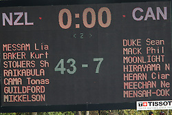 The final scoreboard during the XIX Commonwealth Games 7s rugby match between New Zealand and Canada held at The Delhi University in New Delhi, India on the  10 October 2010..Photo by:  Ron Gaunt/photosport.co.nz