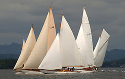 Close Racing at the start of the passage race to Rothesay off Helensburgh. Mikado, Solway Maid, Clio, Sonata and Viola race for the favoured end.<br /> <br /> This the largest gathering of classic yachts designed by William Fife returned to their birth place on the Clyde to participate in the 2nd Fife Regatta. 22 Yachts from around the world participated in the event which honoured the skills of Yacht Designer Wm Fife, and his yard in Fairlie, Scotland.<br /> <br /> Marc Turner / PFM Pictures