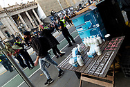 A sanitising station where protestors can pick up a mask and hand sanitiser on 06 June, 2020 in Melbourne, Australia. This event was organised to rally against aboriginal deaths in custody in Australia as well as in unity with protests across the United States following the killing of an unarmed black man George Floyd at the hands of a police officer in Minneapolis, Minnesota. (Photo by Mikko Robles/ Speed Media)