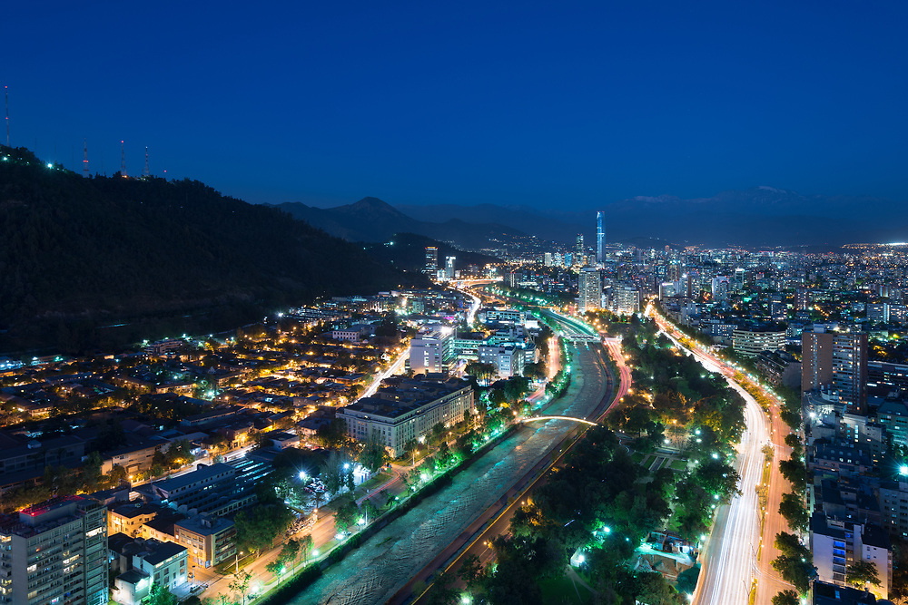 Panoramic view of Providencia and Las Condes districts and Bellavista Neighborhood, Santiago de Chile