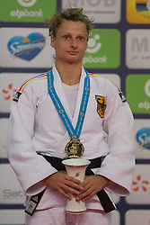 Gold medalist Mareen Kraeh of Germany attends the award ceremony for women's -52 kg category at Grand Prix Budapest 2015 in Budapest, Hungary on June 13, 2015. EXPA Pictures © 2015, PhotoCredit: EXPA/ Photoshot/ Attila Volgyi<br /> <br /> *****ATTENTION - for AUT, SLO, CRO, SRB, BIH, MAZ only*****