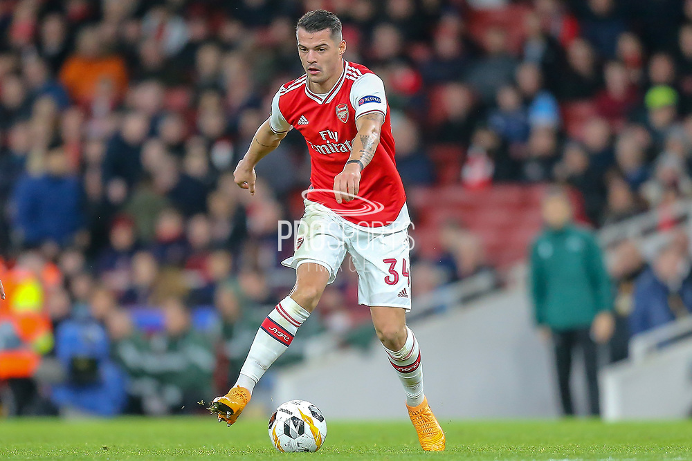 Arsenal midfielder Granit Xhaka (34) during the Europa League match between Arsenal and Eintracht Frankfurt at the Emirates Stadium, London, England on 28 November 2019.