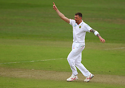 Dale Steyn gets the wicket of Martin Guptill during day two of the first test match between South Africa and New Zealand held at the Kingsmead stadium in Durban, KwaZulu Natal, South Africa on the 20th August 2016<br /> <br /> Photo by:   Anesh Debiky / Real Time Images