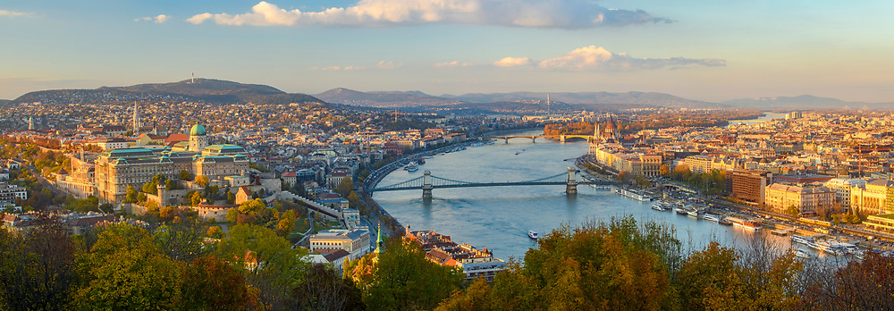 Views of Budapest from the Citadella- River Danube and Buda side in late afternoon, Budapest, Central Hungary, Hungary
