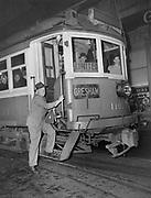 Y-490131-01.  Last Gresham  interurban trolley. Car 1101. January 31, 1949