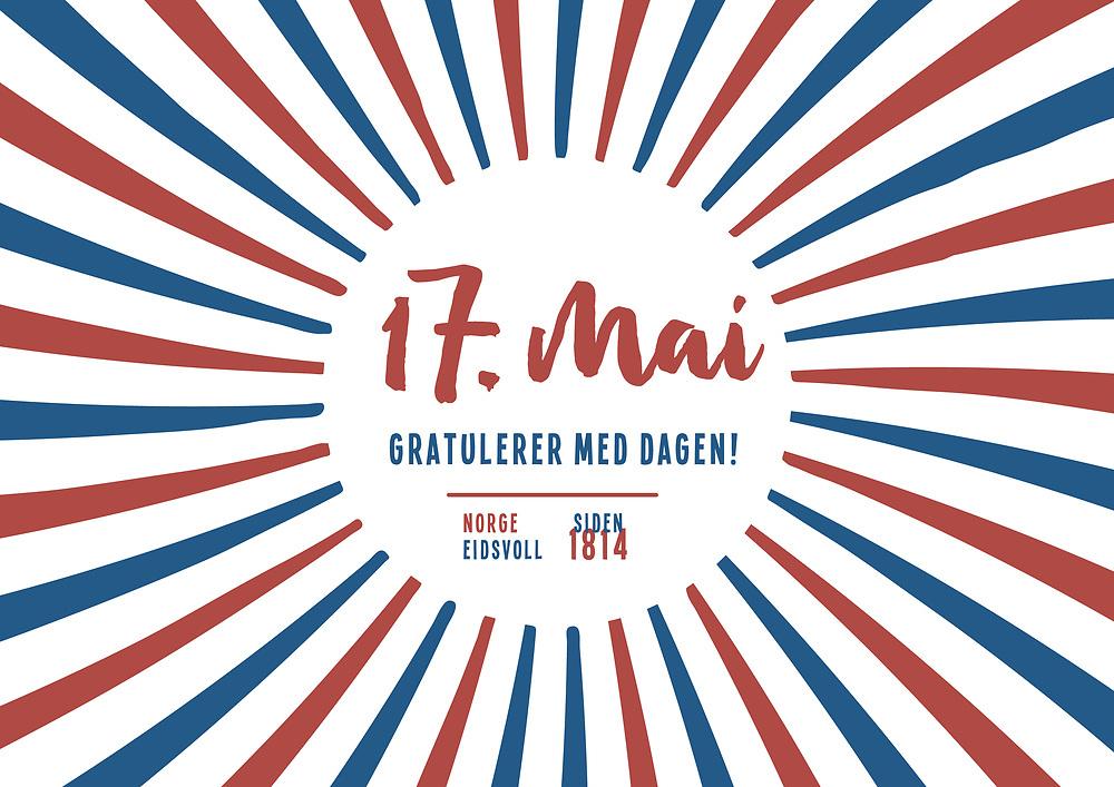 Ferdigdesign med tekst « 17. mai - Gratulerer med dagen - Norge Eidsvoll - Siden 1814». Grafikk som passer perfekt som hilsen til kunder og forbindelser på nasjonaldagen, spesielt egnet til bruk på sosiale medier som Facebook og Instagram.