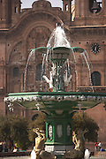 Fountain and La Compania de Jesus  Plaza de Armas  Cusco, Peru