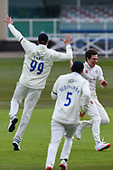 High five for Matt Salisbury of Durham during the LV= Insurance County Championship match between Nottinghamshire County Cricket Club and Durham County Cricket Club at Trent Bridge, Nottingham, United Kingdom on 9 April 2021.