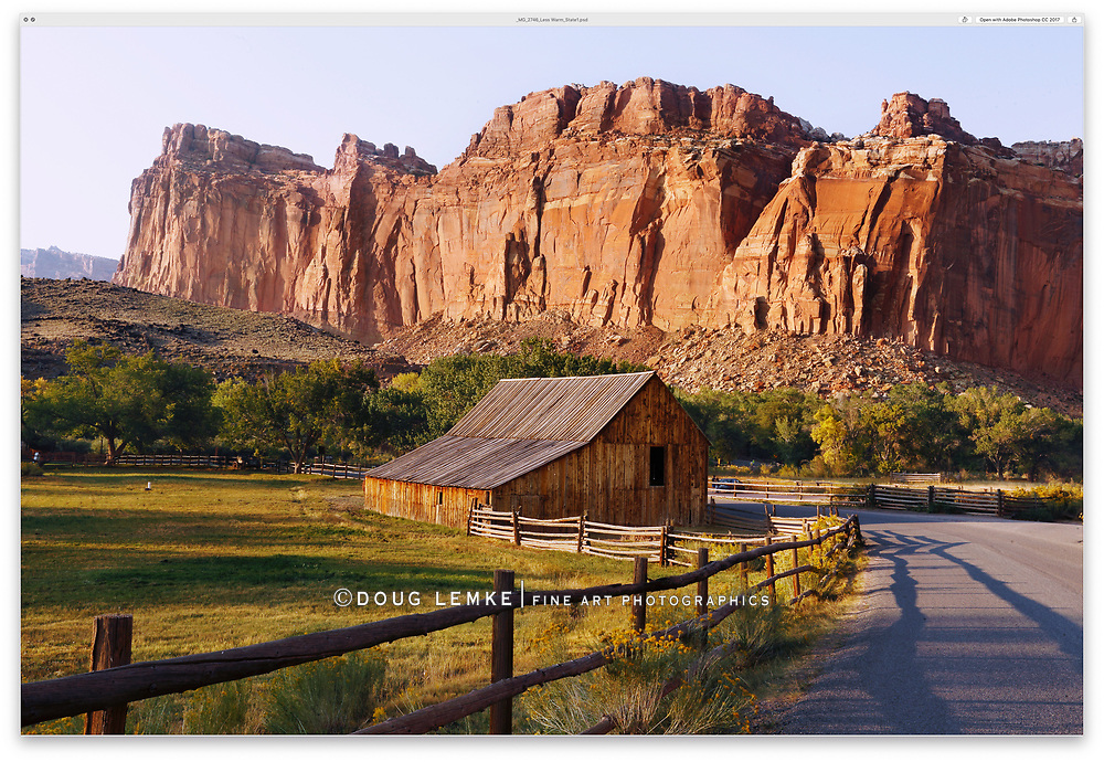 Late afternoon at The Gifford Homestead Barn, Capitol Reef National Park, Utah, USA