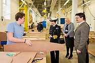 HRH The Princess Royal meets boatbuilding students from Highbury College's Solent Marine Academy during her commemorative visit to Boathouse 4 at Portsmouth Historic Dockyard today. The Boathouse opened last year following a £5.7million restoration and features a boatbuilding academy, The Forgotten Craft exhibition, family activities and Midships restaurant.<br /> Picture date: Monday March 20, 2017.<br /> Photograph by Christopher Ison ©<br /> 07544044177<br /> chris@christopherison.com<br /> www.christopherison.com