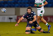 Sale Sharks lock Lood De Jager passes the ball during a Gallagher Premiership Round 12 Rugby Union match, Friday, Mar 05, 2021, in Eccles, United Kingdom. (Steve Flynn/Image of Sport)