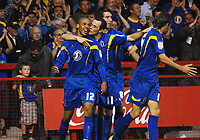 Football - League Cup Preliminary Round - Crawley Town vs. AFC Wimbledon Goalkeeper, Christian Jolley (AFC) celebrates scoring goal no. 2.  29/08/2011 Credit : Colorsport / Andrew Cowie
