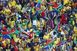 South Africa supporters cheers prior to the kick-off of the Group A first round 2010 FIFA World Cup South Africa match between South Africa and Mexico at Soccer City Stadium on June 11, 2010 in Johannesburg, South Africa.  (Photo by Vid Ponikvar / Sportida)